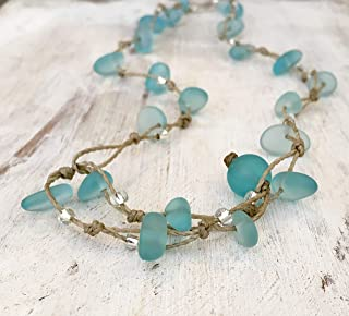 Aqua Blue Sea Glass Necklace Triple Wrap Bracelet or Anklet, Island and Beach Jewelry, Handmade in the Caribbean
