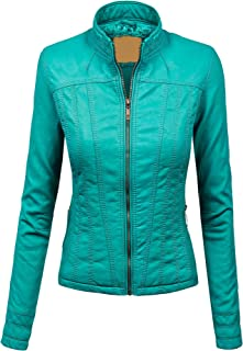Made By Johnny MBJ Womens Faux Leather Zip Up Biker Jacket with Inner Fleece
