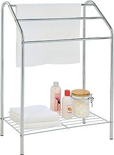 MyGift Freestanding 3 Tier Metal Towel Rack, Chrome Bathroom Towel Bar, Silver-Tone