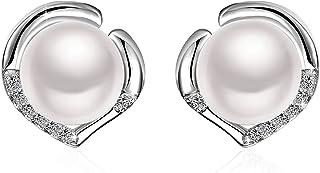 Pendientes mujer, J. rosée, Plata de ley 925, 5A circonitas joyas pendientes perlas de agua dulce 8mm Exquisite Caja de Regalo de cumpleaños mujer madre Freundin Hija