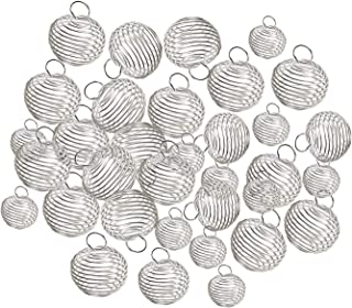 Shapenty 3 Sizes 15mm / 25mm / 30mm Silver Plated Spiral Bead Cage Pendants Stone Holderfor Necklace Jewelry Finding Making and Crafting, 30PCS (Silver)