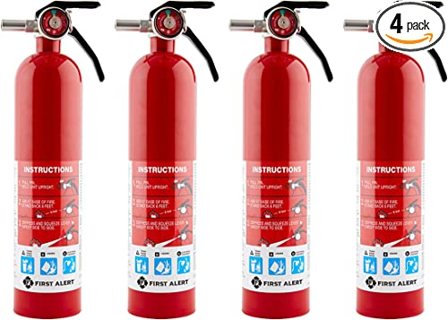 First Alert HOME1 Rechargeable Home Fire Extinguisher 4-Pack Red   UL Rated 1-A:10-B:C   All-Metal Fire Extinguisher with Pull Pin & Safety Seal   U.S. Coast Guard Approved for Marine Use