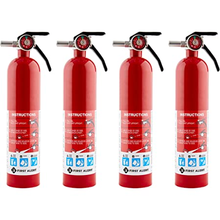 First Alert HOME1 Rechargeable Home Fire Extinguisher 4-Pack, Red   UL Rated 1-A:10-B:C   All-Metal Fire Extinguisher with Pull Pin & Safety Seal   U.S. Coast Guard Approved for Marine Use