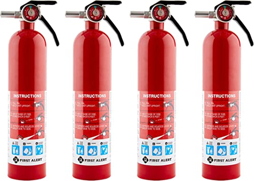 First Alert HOME1 Rechargeable Home Fire Extinguisher 4-Pack, Red | UL Rated 1-A:10-B:C | All-Metal Fire Extinguisher...