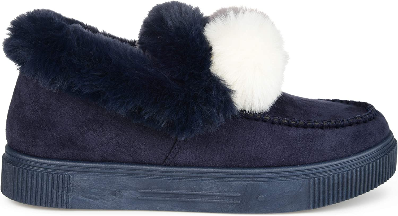 Brinley Co. Womens Comfort Foam Faux Fur Trim Pom Pom Accent Slipper
