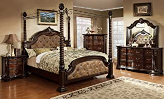 Monte Vista Bedroom Furniture Luxurious Formal Traditional Cherry Finish Wooden California King Size Bed w Canopy Posts Dresser Mirror Nightstand 4pc Set Dark Brown Leatherette Tufted HB