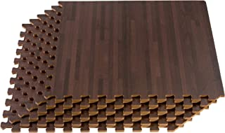 FOREST FLOOR 24 x 24 in x 5/8 in Thick Printed Foam Tiles,  Premium Wood Grain Interlocking Foam Floor Mats,  Anti-Fatigue Flooring,  80 Sq Ft,  Cherry