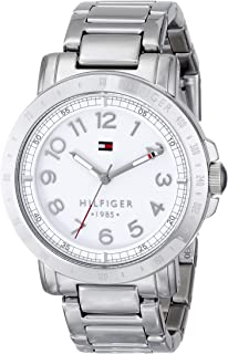 ساعة تناظرية بميناء أبيض وحزام معدني للنساء