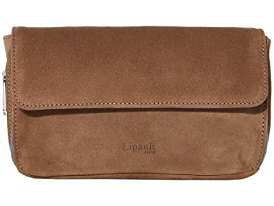 Lipault Paris Rendez-Vous Suede Wallet (Dark Taupe/Icy Blue) Bags
