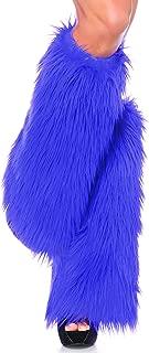 Leg Avenue Women's Warrior Faux Fur Leg Warmers with Faux Leather Wrap Detail, Purple, O/S