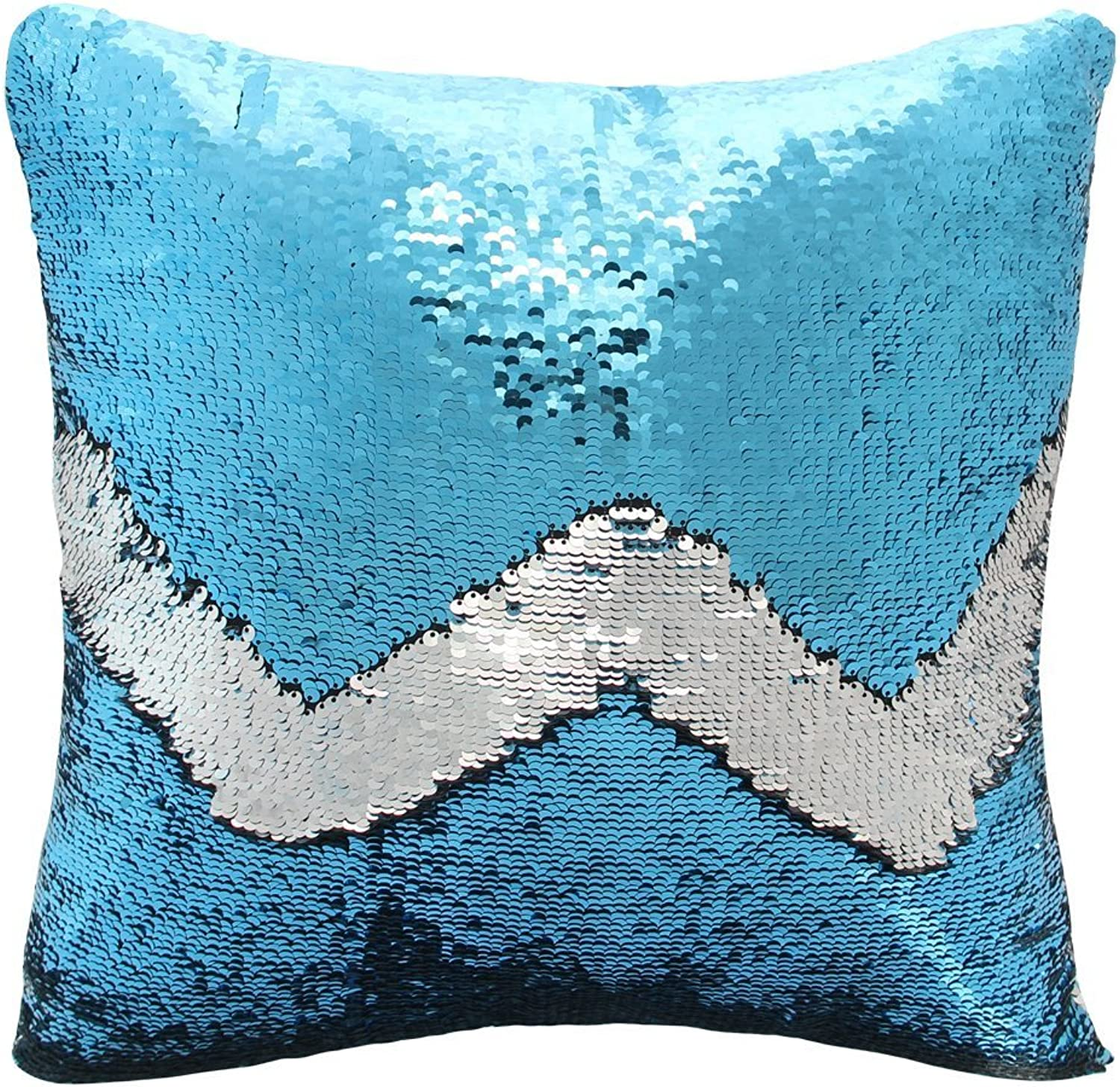 BlingSoul Little Mermaid Pillow Cover - Reversible Flip Magic Sequin Pillow Case Sparkling Shiny Changing color Throw Party Decoration for Kids Girls Room Decor 16 x16  (bluee Silver)