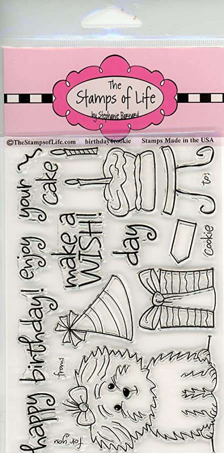 Pet Birthday Clear Stamps for Scrapbooking and Card-Making by The Stamps of Life - Puppy-Dog - Birthday4Cookie
