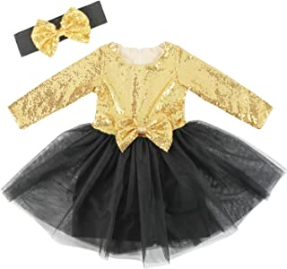 Cilucu Flower Girls Dresses Kids Sequin Tulle Birthday Dress Prom Aline Gown with Long Sleeve Gold/Black