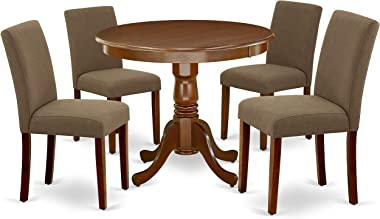 """East West Furniture 5Pc Round 36"""" Table And 4 Parson Chair With Mahogany Leg And Linen Fabric Coffee"""