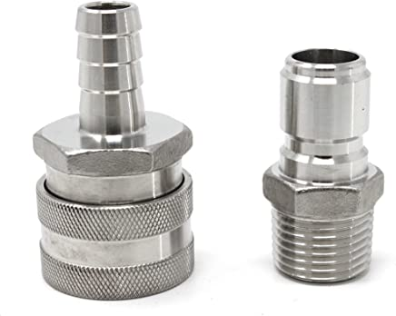 CONCORD 304 Stainless Steel Quick Disconnect Barb Hose with MPT Set. Home Brewing Mash Tun. (Barb Female/MPT Male)