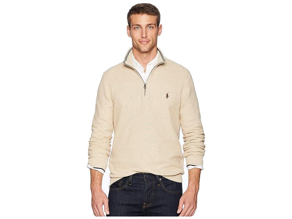 Polo Ralph Lauren Textured Pique 1/2 Zip (Oatmeal Heather) Men