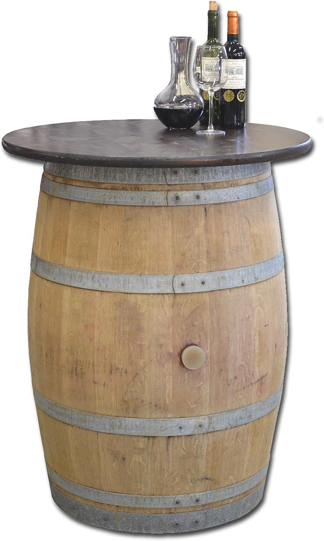 Temesso Dekofass, Stehtisch aus echtem Weinfass, Gartentisch mit Tischplatte nussbaumfarben lackiert D80 cm - Fass Natur unbehandelt