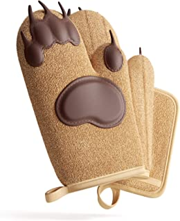 toem Bear Paw Oven Mitts & Pot Holder Kitchen Set Set has 2 Heat Resistant Silicone Padded Gloves, 1 for Each Hand, 1 Terry Cloth Pot Holder & Free Self Adhesive Hook