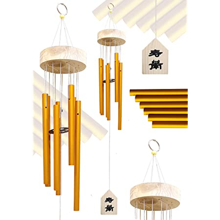 Plusvalue Feng Shui Metal Windchime Bell 6 Pipes Rods For Positive Vibrations & Energy Home Balcony Garden Outdoors Office Decor Melodious Sound (5 x 2.5 inches, Gold)