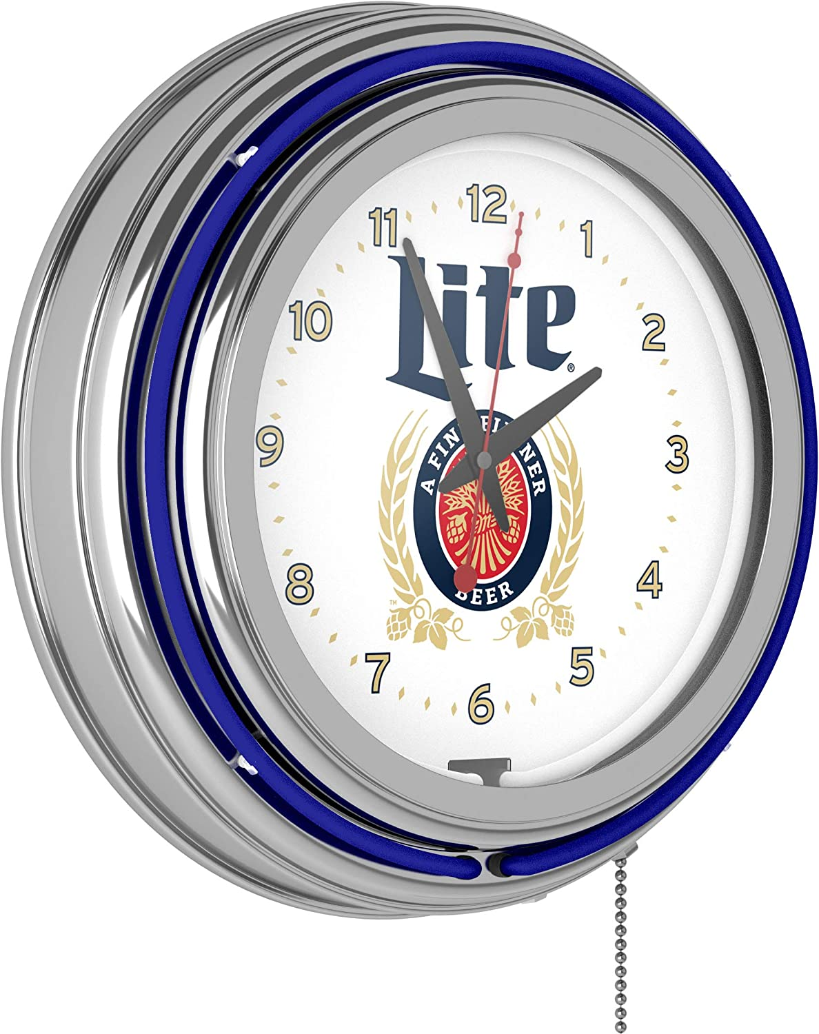 Trademark Gameroom Miller Lite Today's only Chrome Double Neon R Rung Latest item - Clock