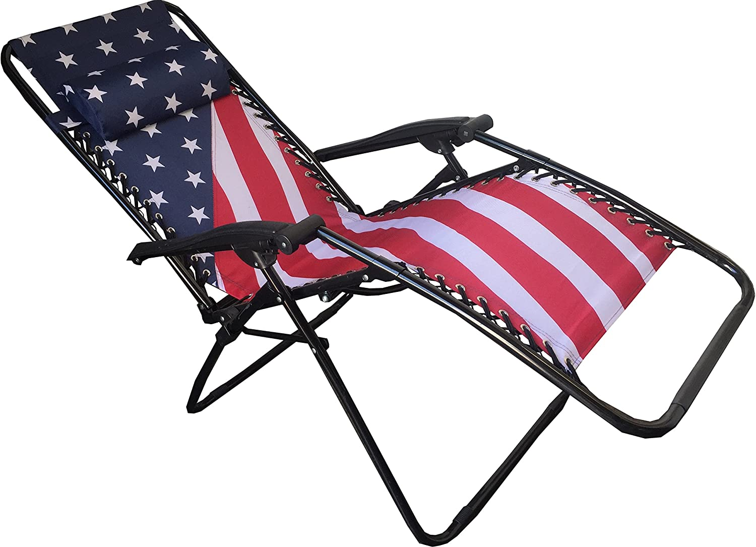 World Famous Sports Stars and Stripes Zero Gravity Lounge Chair, Red White blueee, 69  x 43 x 43