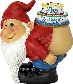 Design Toscano QM17044 Loonie Moonie Happy Birthday Gnome Statue, Multicolor