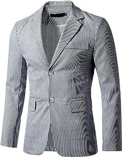 Sourcingmap Men's Striped Sport Coat Notched Lapel Slim Fit Business Blazer Suit Jacket