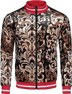 Men's Varsity Bomber Jacket Slim Fit Floral Bsaeball Sweatshirts