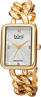 Burgi Women's Rectangle Diamond Watch - Embossed Dial with Genuine Diamond Markers On Stainless Steel Link Bracelet - BUR100