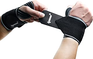 """IPOW 18.5"""" Professional Quality Wrist Straps Support Braces Wraps Belt Protector with 2.5"""" Thumb Loops for Powerlifting, Bodybuilding, Weight Lifting, Strength Training, One Size fits All Men& Women"""