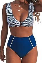 CUPSHE Women's Blue Striped Ruffles High Waisted Bikini