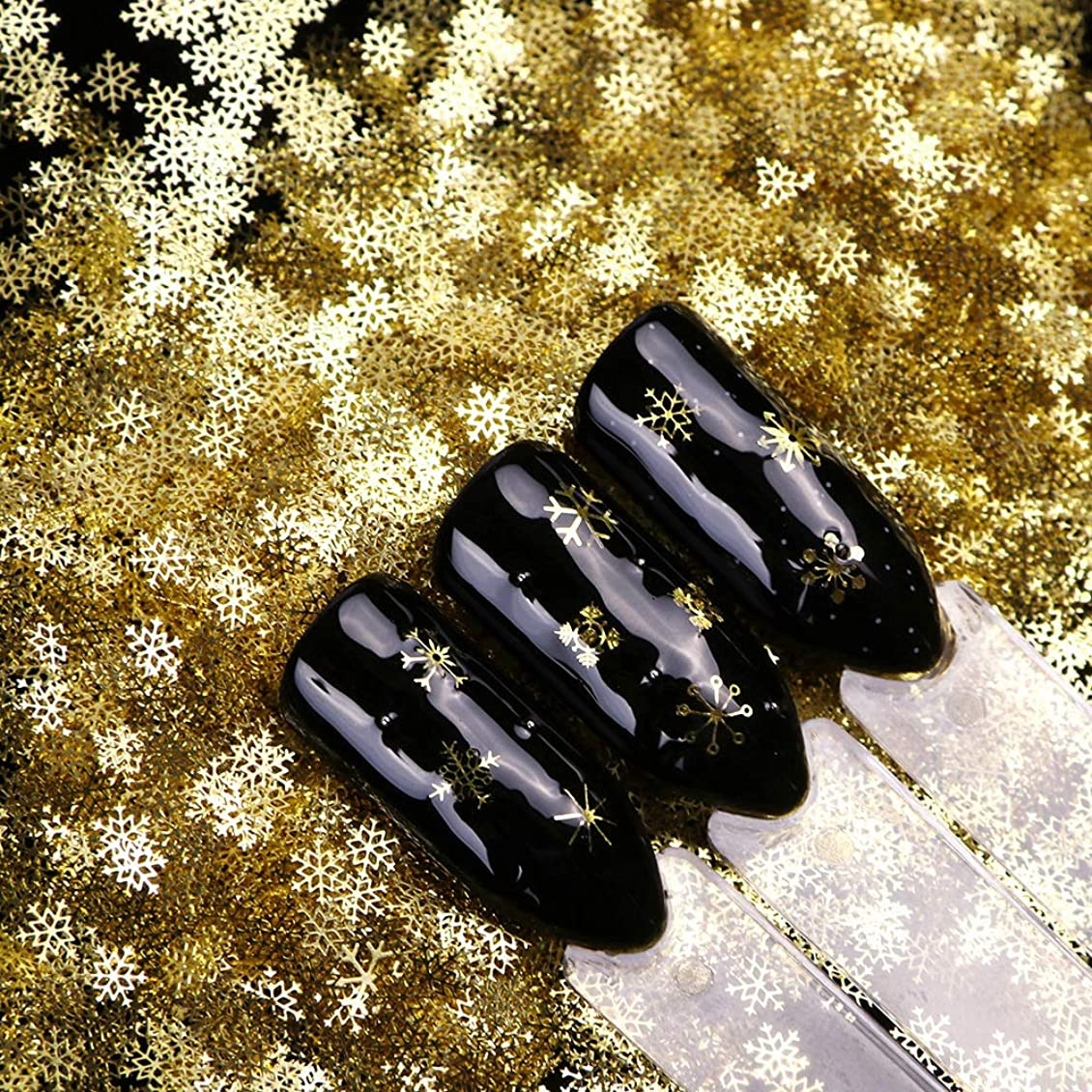 表示ストレスの多い縞模様の雪の結晶メタルパーツ 9種セット 約90粒 冬ネイル 雪花 クリスマス  ネイルパーツネイルデコレーションジェルネイル ネイルアート