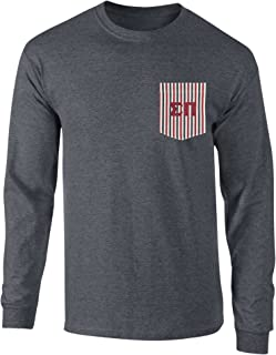 Sigma Pi Americana Pocket Long Sleeve T Shirt with Twill Letters