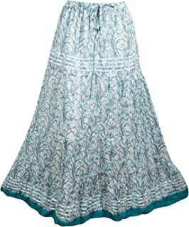 Mogul Interior Womens Maxi Skirt Blue Floral Printed Flaunting Summer Gypsy Flare Long Skirts S/M