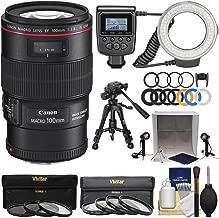 Canon EF 100mm f/2.8 L is Macro USM Lens with Ring Light + Tripod + Light Box + Kit for EOS 80D, 6D, 7D, 5DS, 5D II III IV, Rebel T6, T6i, T6s, T7, T7i