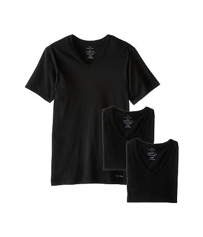 Calvin Klein Underwear Short Sleeve Cotton Classic Slim Fit V-Neck 3-Pack (Black) Men