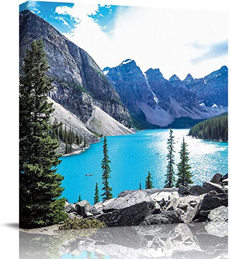 Amazon Com Oil Painting Artwork Print On Wrapped Canvas For Walls Scenic View Of Moraine Lake And Mountains At Sunset Rocky Mountains Wall Painting On Canvas For Living Room Bedroom Kitchen Home Decor 24x24in