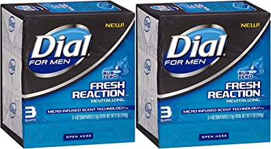 Dial For Men Fresh Reaction Bar Soap, Sub Zero, 4 ounce bars, 3 Count (Pack of 2)