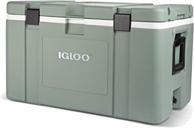 Igloo Mission 124 Quart 117 Liter Lockable Insulated Lined Ice Chest Cooler with Heavy Duty Handles, Ocean Glass Green
