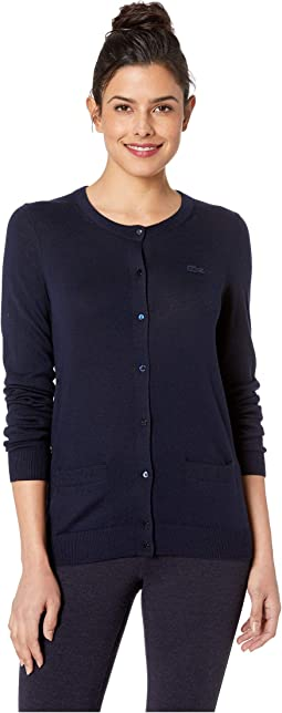 Long Sleeve Crew Neck Cardigan w/ Pocket