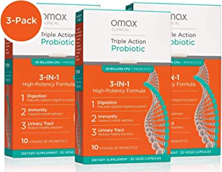 3 Pack Savings: Omax Probiotic + Prebiotic Supplement Pills, 50 Billion CFU, 10 Clinically Studied Strains, Dairy-Free, Vegan, Non-GMO, Blister Packed - 90 Ct