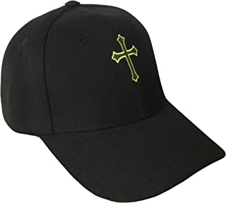 THS Christian Cross Baseball Cap (One Size, Black/Green/Gold)