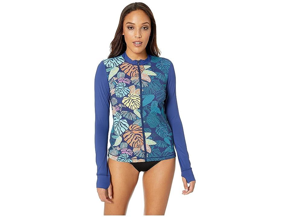 Image of 24th & Ocean Calm Palm Swim Shirt (Navy) Women's Swimwear