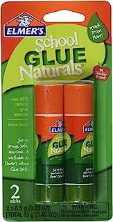 ELMERS School Glue Naturals 透明 0.21 盎司棒,每包 2 支 (E5044) 2 Sticks 透明