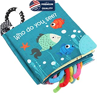 Fish Soft Cloth Book, Shark Tails Soft Activity Crinkle Baby Books Toys for Early Education for Babies,Toddlers,Infants,Ki...
