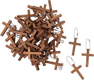 50-Pack Cross Keychains - 1.2 x 1.75-Inch Wooden Cross Key Chain, Religious Key Chains for Party Favors, Sunday School DIY Craft