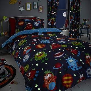 Set de fundas infantiles para edredón - Reversible - Estampado del espacio - Brilla en la oscuridad - Azul - Matrimonio