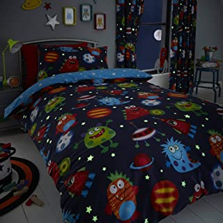 Happy Linen Company Childens Boys Girls Space Monsters Planets Glow in The Dark Blue Reversible UK Single/US Twin Bedding Duvet Cover Set