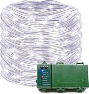 KOMOON Rope Lights 39 Ft 120 LED Battery Operated String Lights Waterproof Christmas Decorative Fairy Lights for Outdoor Indoor Party Patio Garden Yard Holiday Wedding (White)