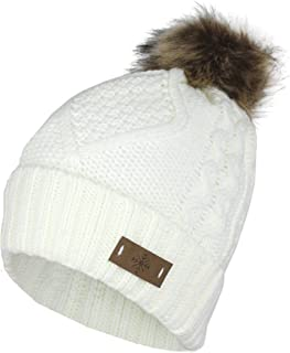 Cable Knit Ski Cuff Beanie Hat w/Fur Pom Pom and Snow Tag- Soft Stretch Winter Cap